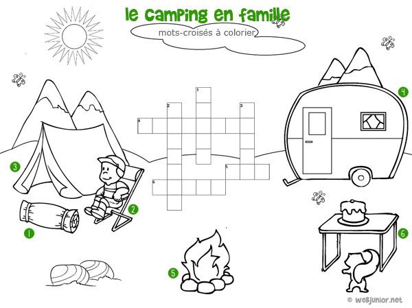 Le camping en famille mots crois s enfant imprimer et - Grilles de mots croises gratuites a imprimer ...