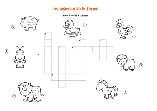 Les Animaux De La Ferme Mots Croisés Enfant à Imprimer Et Colorier