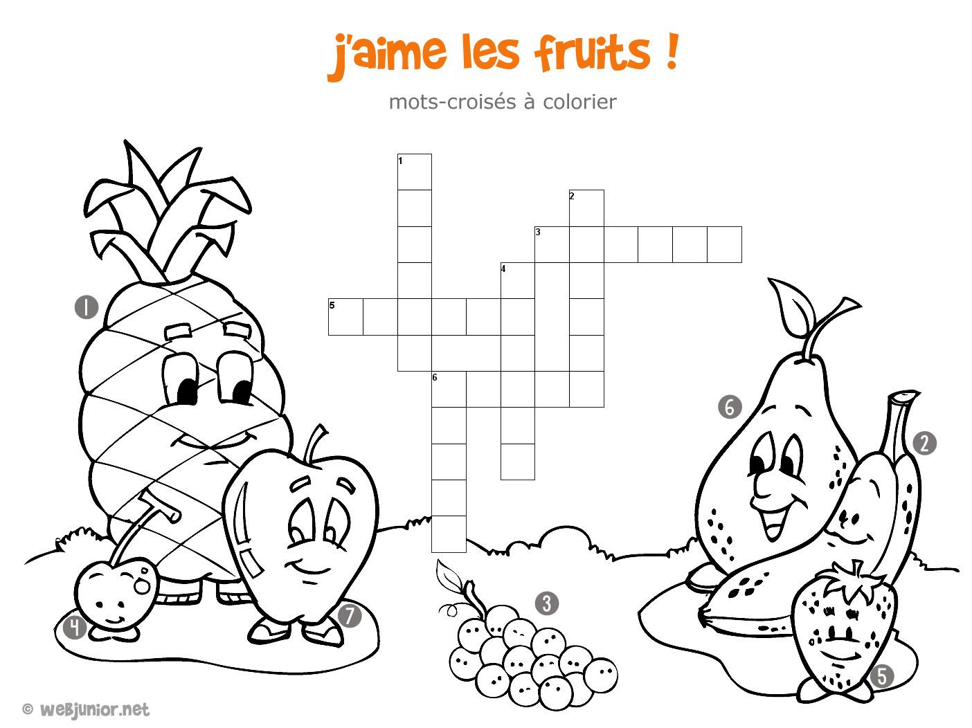 Préférence J'aime les fruits : mots-croisés enfant, à imprimer et colorier JQ76