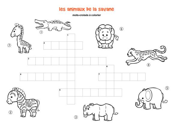 Les Animaux De La Savane Mots Croisés Enfant à Imprimer