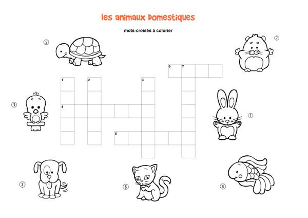 Populaire Les animaux domestiques : mots-croisés enfant, à imprimer et colorier CO73