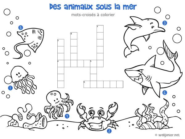 Sehr Des animaux sous la mer : mots-croisés enfant, à imprimer et colorier PV69
